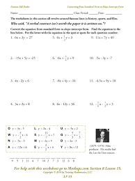 slope of a line worksheets lf 15 converting from standard form to slope intercept form mathops