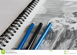 sketchbook with sketch and pen royalty free stock photography