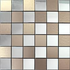 metallic mosaic tiles brushed aluminum kitchen backsplash designs 9105