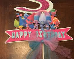 trolls cake topper trolls birthday personalized cake topper