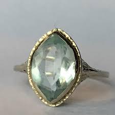 vintage aquamarine ring 14k gold art deco filigree setting 2