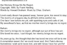 Comfort Me Lyrics Old Time Song Lyrics For 60 Her Memory Brings Me No Regret