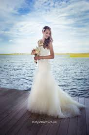 charming mermaid strapless sweetheart white tulle wedding dress