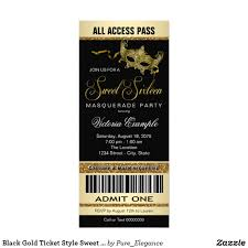 black gold ticket style sweet 16 masquerade party card gold