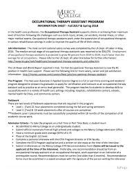 Nbcot Certification Letter Occupational Therapy Assistant Mercy College
