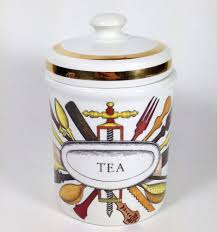 funky kitchen canisters fornasetti milano ceramic tea canister with utensil design kitchen