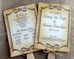 Rustic Wedding Program Fans Diy Rustic Wedding Program Fan Printable Vintage Wedding