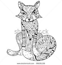 doodle outline fox decorated stock vector 368261156