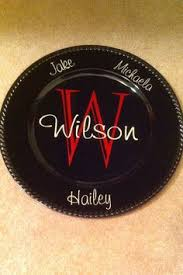 monogrammed plate plates diy with vinyl letters cheap easy think dollar tree