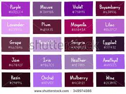 different shades of purple names purple tone color shade background with code and name illustration