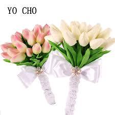 tulip bouquets yo cho wedding flowers bridal bouquets artificial pu tulip