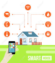 vector concept of smart house or smart home technology system