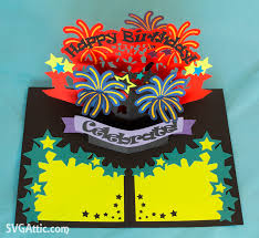 fireworks explosion pop up birthday card from psd bright and happy