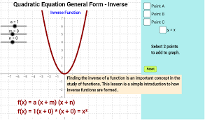 quadratic equation general form inverse geogebra