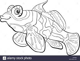 black and white cartoon illustration of mandarin fish sea life