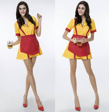 cheerleader halloween costumes 2 broken max waitress cosplay costume 2016 new german