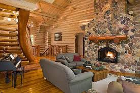 Log Home Decor Ideas Magnificent Rustic Log Home Decorating Ideas Using Grey Modern