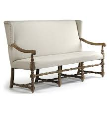 Upholstered Benches Dining Room Tufted Cream Fabric Dining Room Banquette With Wing