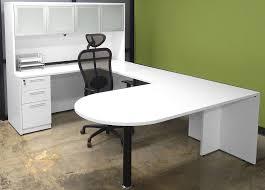 white u shaped workstation w hutch