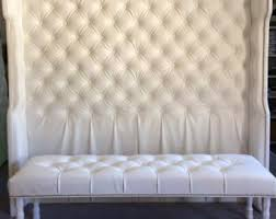 extra wide king diamond tufted headboard and bench set in