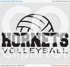 clipart of a black and white ball with hornets volleyball text