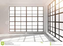 empty white loft interior with floor to ceiling windows stock