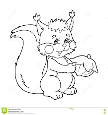 coloring page outline of cartoon squirrel with nut coloring book