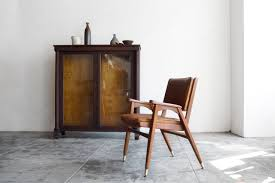 Modern Wood Furniture Sold Mid Century Modern Wood Armchair With Leather Seat Rehab