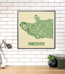 Portland Neighborhood Map Poster by Vancouver Neighbourhood Map Poster Or Print Original Artist