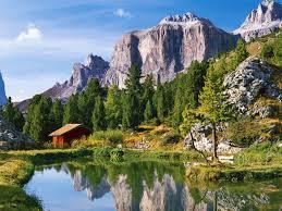 mountains mountain cottage grass lake pond bungalow blue