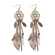feather earrings s aliexpress buy handmade women s fashion drop feather