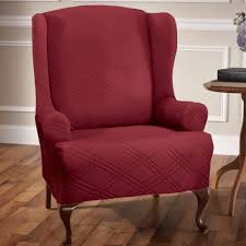 Upholstered Wingback Chair Double Diamond Stretch Wing Chair Slipcovers