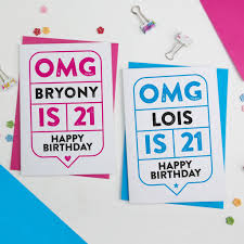 21 Birthday Card Design Omg 21st Birthday Card Personalised By A Is For Alphabet