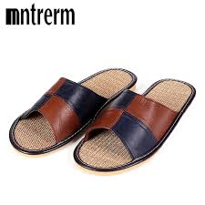 mens leather bedroom slippers mnterrm hot sale men home slippers linen home slippers indoor