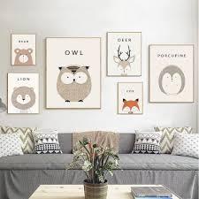 owl cartoon minimal art canvas print posters for modern baby