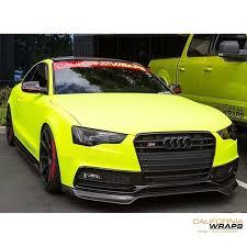matte audi s5 s5 wrapped in arlon matte fluorescent hi liter yellow vinyl