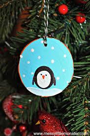 fingerprint penguin wood slice ornament
