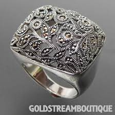 domed ring 925 silver marcasite floral open design wide domed ring size 7 75