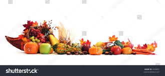 thanksgiving cornucopia filled autumn fruits vegetables stock