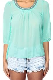 mint blouse embellished times sheer mint blouse cicihot top shirt clothing