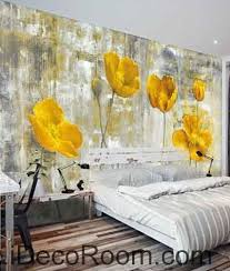 Poppy Home Decor Vintage Golden Poppy Flower Painting Wallpaper Wall Decals Wall