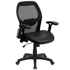 mid back super mesh office chair with leather seat