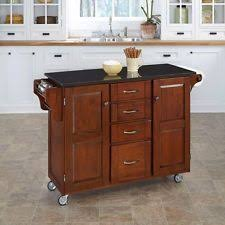Kitchen Rolling Cabinet Dark Wood Black Granite Top Kitchen Island Cart Large Drawer