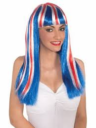 Pippi Longstocking Halloween Costumes Women U0027s Red White Blue Patriotic Wig Wig Halloween