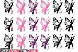 breast cancer butterfly circle split svg cricut silhouette swirl
