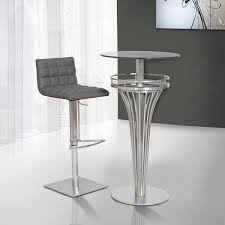 Glass Bar Table And Stools Contemporary Bar Table In Stainless Steel And Gray Frosted