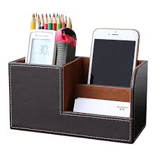Leather Desk Accessories Organizers by Amazon Com Kingfom Wooden Struction Leather Multi Function Desk