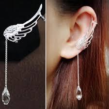 one sided earrings 1pair fashion silver angel wing earrings drop dangle ear