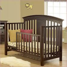 Modern 4 In 1 Convertible Crib Contvertible Cribs Metal Mid Century Modern Brown Upholstered