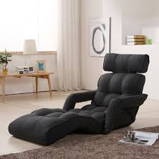Chaise Lounge Sofa With Recliner Black Grey Soft Linen Fabric Folding Floor Sofa Recliner K16rs01